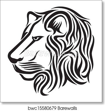 Lion Head Tribal Tattoo Art Print Barewalls Posters Prints