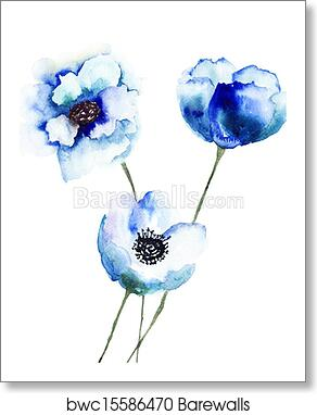 Beautiful Blue Flowers Art Print Canvas Home Decor