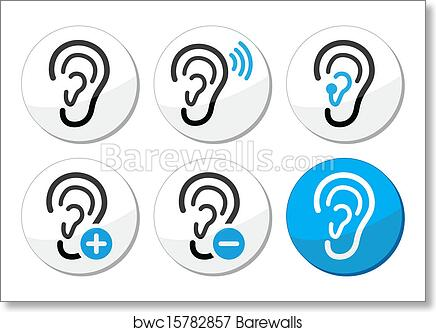 Art Print Of Ear Hearing Aid Deaf Problem Icons Barewalls Posters
