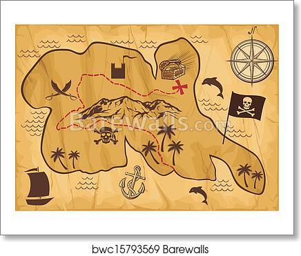 art print of map of treasure island