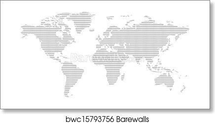 Art print of black and white men pattern world map barewalls art print of black and white men pattern world map gumiabroncs Images