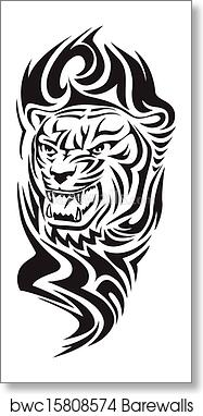 Art Print Of Tiger Head Tattoo Vintage Engraving Barewalls