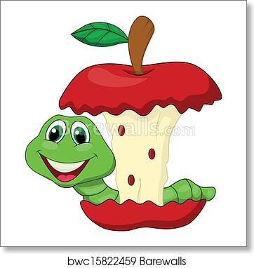 Worm Eating Red Apple Cartoon Art Print Barewalls Posters