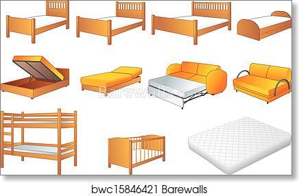Bedroom Furniture Set Vector Art Print Barewalls Posters