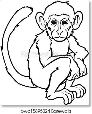 cfa3e635a Stylised monkey illustration, Art Print | Barewalls Posters & Prints |  bwc15895024