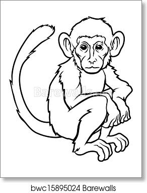 f6be9e5c1 Stylised monkey illustration, Art Print | Barewalls Posters & Prints ...
