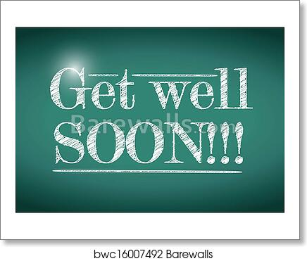art print of get well soon message illustration design
