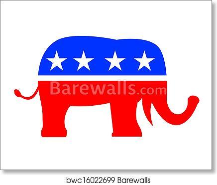 Art Print Of Republican Elephant Mascot Usa Flag Barewalls Posters
