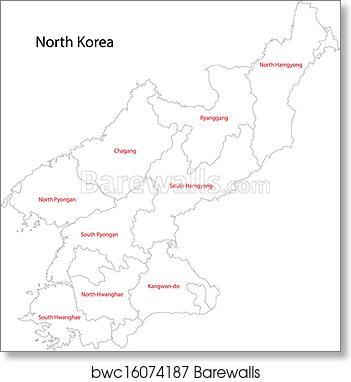 Art Print of Contour North Korea map Barewalls Posters Prints