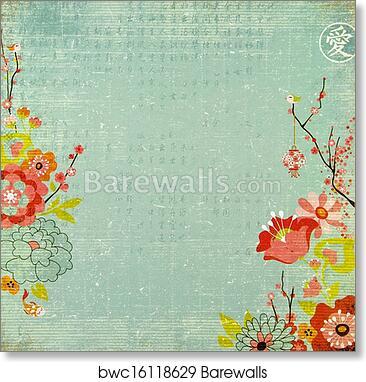 Art print of chinese lotus flower background barewalls posters art print of chinese lotus flower background mightylinksfo
