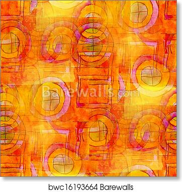 Artist Orange Seamless Cubism Abstract Art Picasso Texture Watercolor Wallpaper Background Art Print Poster