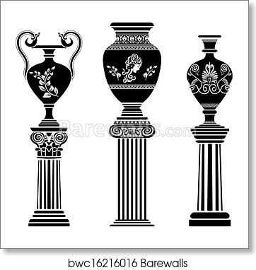 Art Print Of Ancient Greek Vase On Column Barewalls Posters