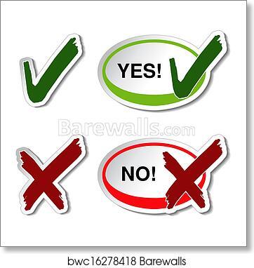 Art Print Of Vector Yes No Button Check Mark Symbol Barewalls