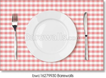 Art Print Of Empty Dinner Plate Top View On Pink Picnic Table Cloth - Picnic table print