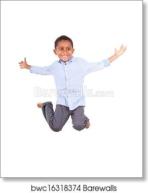 African American Little Boy Jumping Black People Art Print Barewalls Posters Prints Bwc16318374