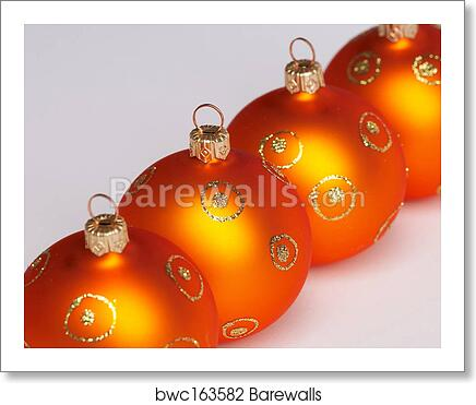 Christmas Tree Balls.Four Christmas Tree Balls Vier Weihnachtskugeln Art Print Poster