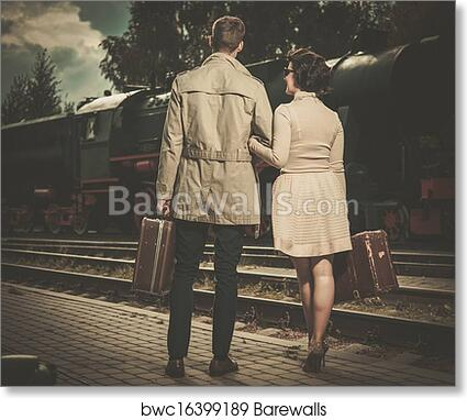 Art Print Of Beautiful Vintage Style Couple With Suitcases On Train Station Platform