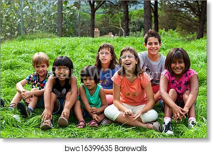Diversity Portrait Of Kids Outdoors Art Print Poster