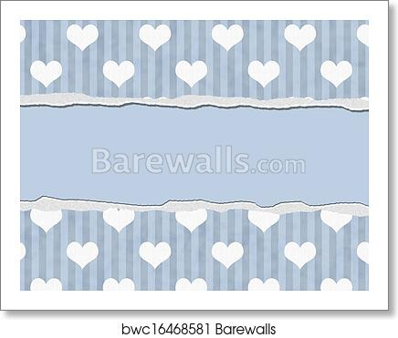 art print of blue hearts torn background for your message or