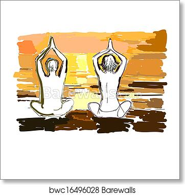 Silhouettes of young couple doing yoga, meditating in lotus position   Vector illustration in the style of watercolor drawing  art print poster