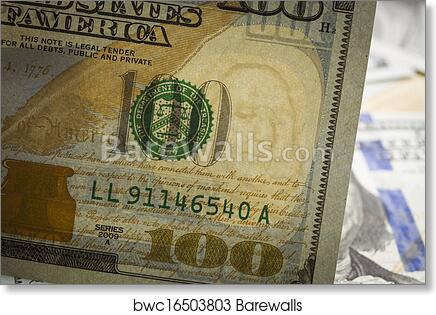 Close Up Watermark on New U  S  One Hundred Dollar Bill art print poster