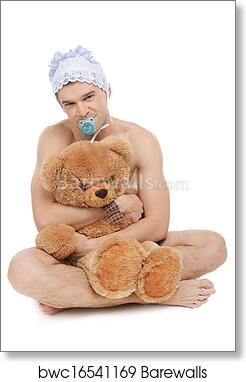 Infant Adult Man In Diaper Holding Teddy Bear And Looking At Camera While Sitting Isolated On White