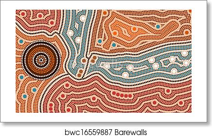 A Illustration Based On Aboriginal Style Of Dot Painting Depicting