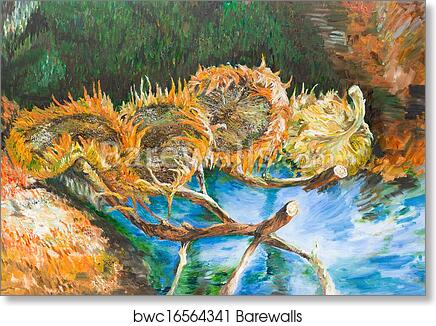 Art Print Of Four Cut Sunflowers Vincent Van Gogh Barewalls