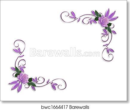 Art Print Of Wedding Invitation Border Lavender Roses