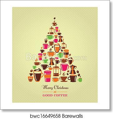 Christmas Tree Icons.Vintage Christmas Tree Coffee Icons Art Print Poster