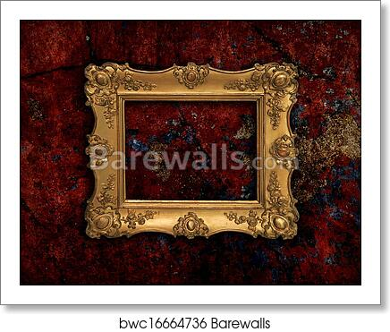 art print of golden baroque frame on a red grunge texture