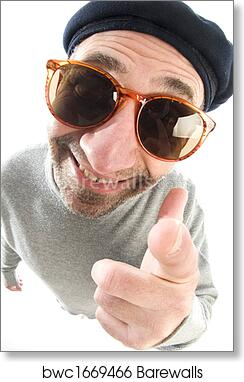 c1919f6b44f2f Middle age senior man happy smiling pointing finger at camera wearing  artist french hippie beret hat macro close up distorted large nose face