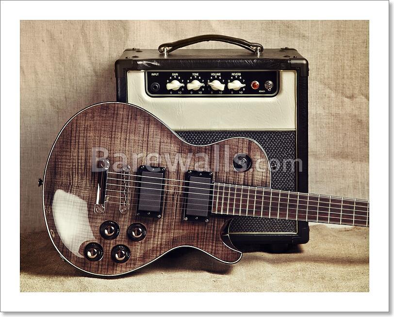 electric guitar and amplifier art print home decor wall art poster d ebay. Black Bedroom Furniture Sets. Home Design Ideas