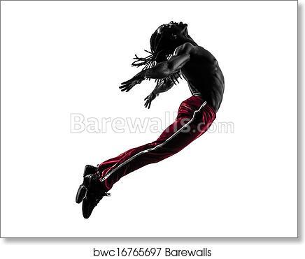 African Man Exercising Fitness Zumba Dancing Silhouette Art Print Barewalls Posters Prints Bwc16765697