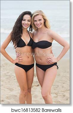 Art Print Of Smiling Young Women At The Beach