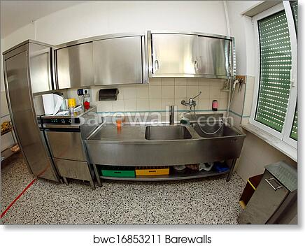 Art Print of Industrial stainless steel sink kitchen of a school ...