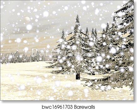"""Wall Mural 24/""""x32/"""" Winter View of Snow Covered Mountain and Pine Trees"""
