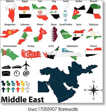 graphic regarding Printable Maps of Middle East referred to as Maps of Center East artwork print poster