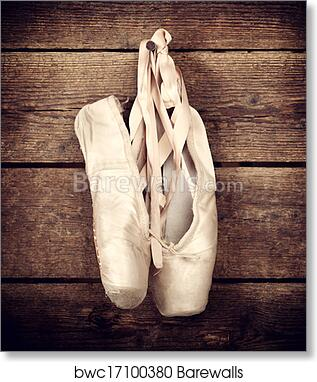 1e2b76718a1b Used ballet shoes hanging on wooden background, Art Print ...