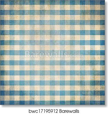 Art Print Of Blue Grunge Checked Gingham Picnic Tablecloth Background