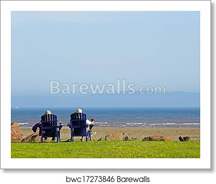 Art Print Of People Beach Chairs Summer Scene