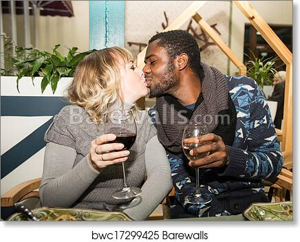 "Canvas Art Print /""Woman Kissing Man/"""