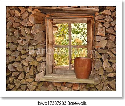 Art Print Of Holzstapel Rund Um Holzfenster Barewalls Posters