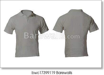Art Print Of Mens Blank Grey Polo Shirt Template
