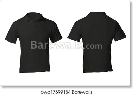 5075b7538 Men's Blank Black Polo Shirt Template, Art Print | Barewalls Posters ...
