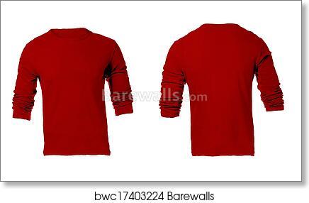 Art Print Of Mens Blank Red Long Sleeved Shirt Template