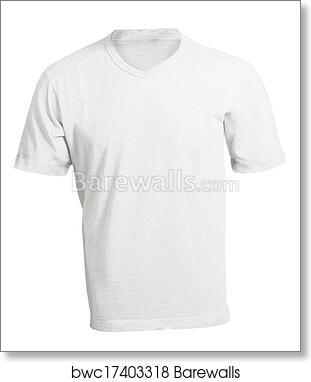Mens Blank White V Neck Shirt Template Art Print