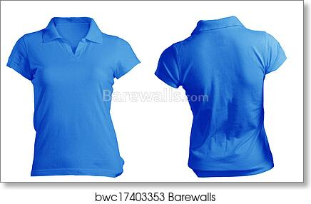 4d8940124 Women's Blank Blue Polo Shirt Template, Art Print | Barewalls ...