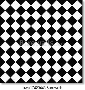Black And White Diagonal Checkers On Textured Fabric Background Art Print