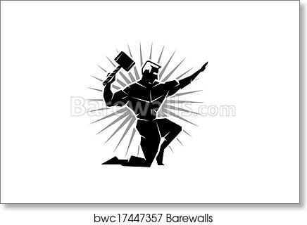 Front view of Greek God Thor art print poster